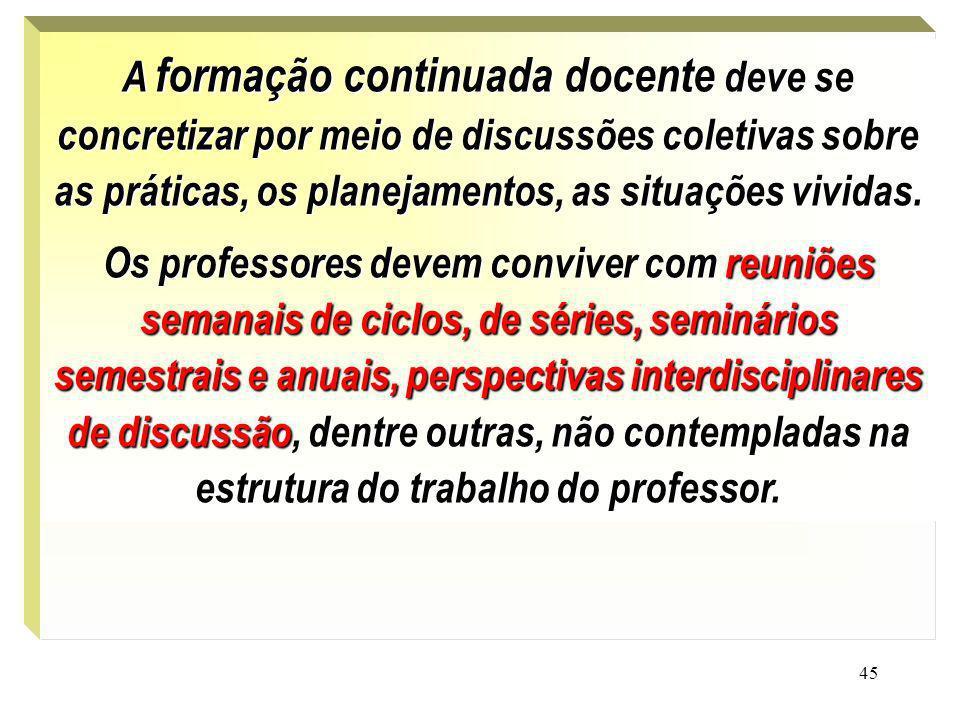45. A formação continuada docente deve se concretizar por meio de discussões coletivas sobre as práticas, os planejamentos, as situações vividas. Os p
