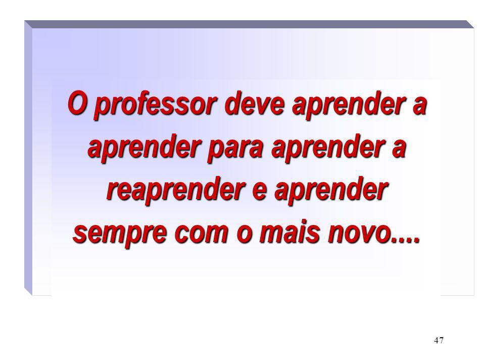47 O professor deve aprender a aprender para aprender a reaprender e aprender sempre com o mais novo.....
