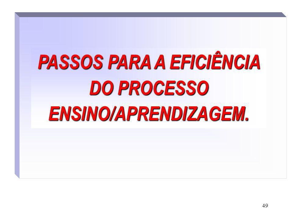 49 PASSOS PARA A EFICIÊNCIA DO PROCESSO ENSINO/APRENDIZAGEM..