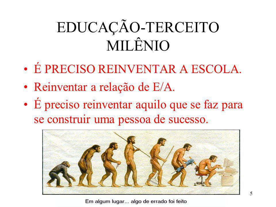 5 EDUCAÇÃO-TERCEITO MILÊNIO É PRECISO REINVENTAR A ESCOLA. Reinventar a relação de E/A. É preciso reinventar aquilo que se faz para se construir uma p