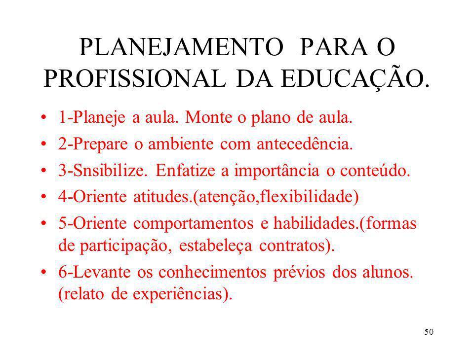 50 PLANEJAMENTO PARA O PROFISSIONAL DA EDUCAÇÃO. 1-Planeje a aula. Monte o plano de aula. 2-Prepare o ambiente com antecedência. 3-Snsibilize. Enfatiz