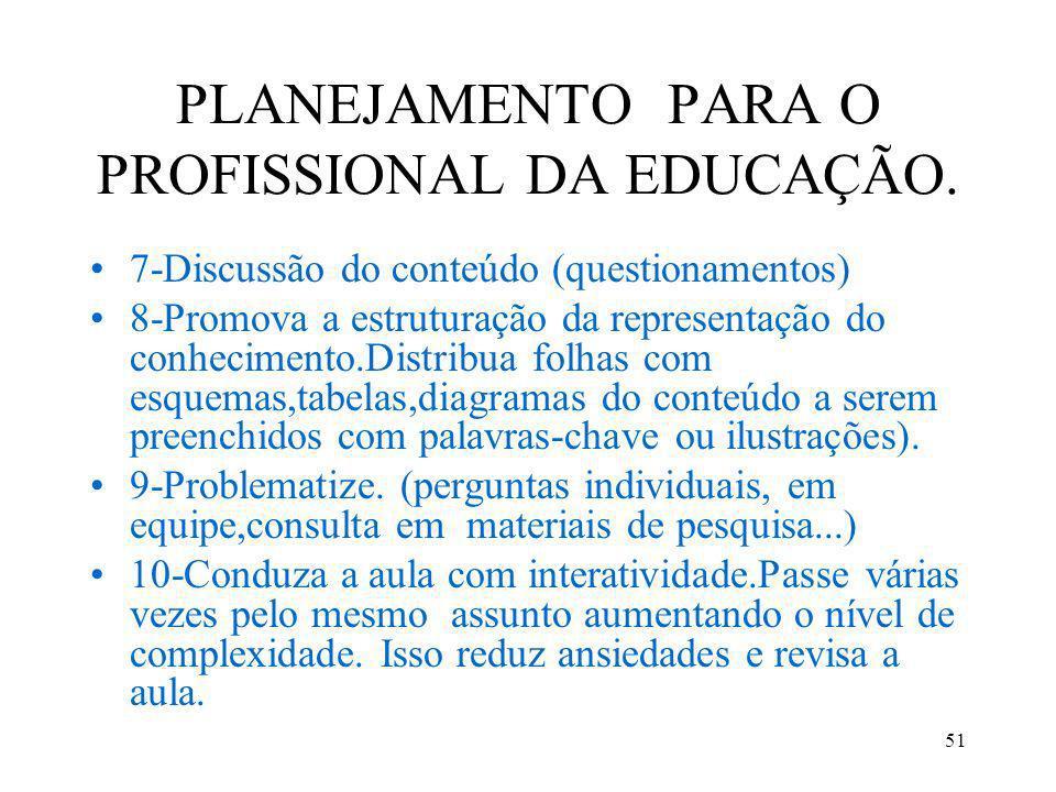 51 PLANEJAMENTO PARA O PROFISSIONAL DA EDUCAÇÃO. 7-Discussão do conteúdo (questionamentos) 8-Promova a estruturação da representação do conhecimento.D