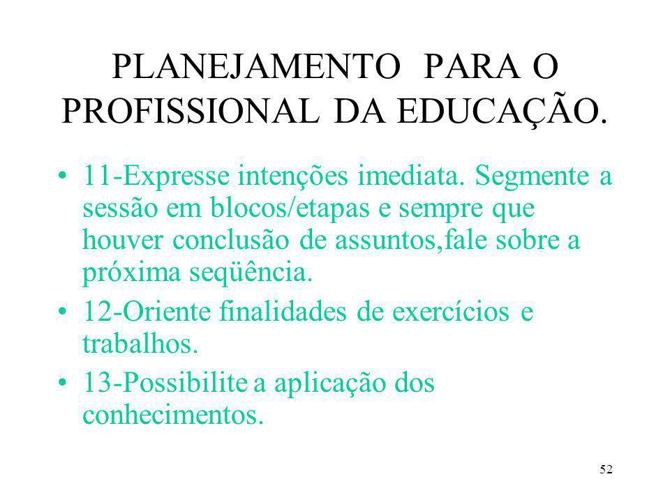 52 PLANEJAMENTO PARA O PROFISSIONAL DA EDUCAÇÃO. 11-Expresse intenções imediata. Segmente a sessão em blocos/etapas e sempre que houver conclusão de a