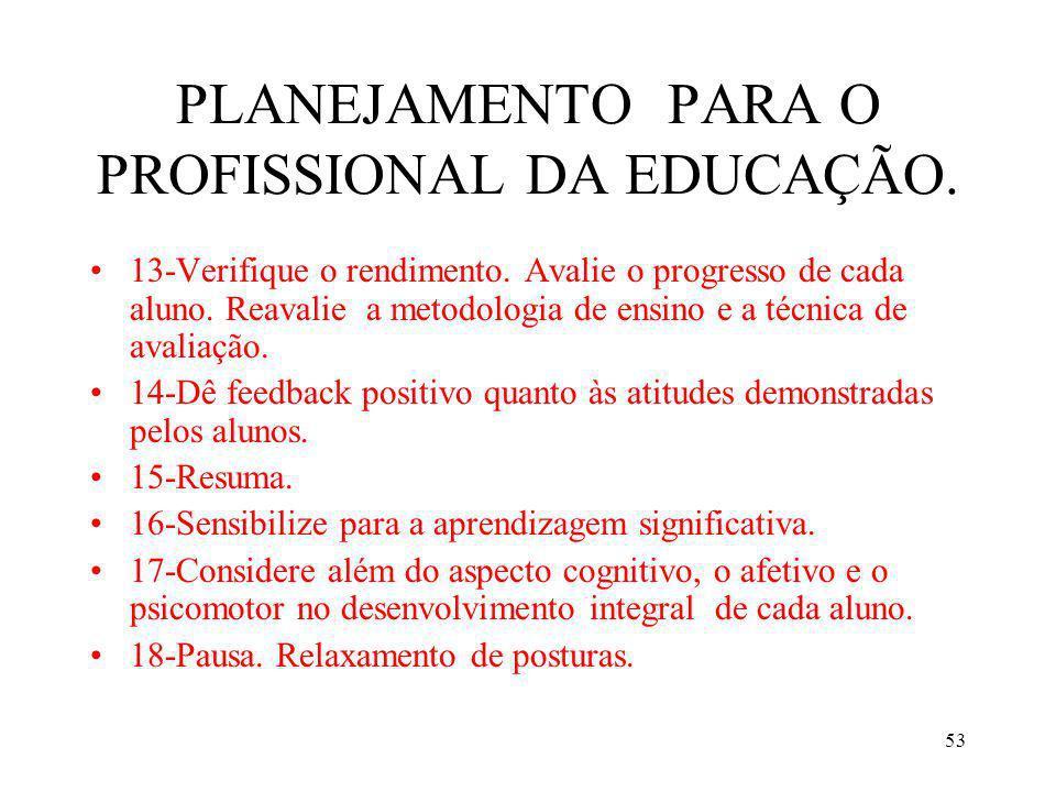 53 PLANEJAMENTO PARA O PROFISSIONAL DA EDUCAÇÃO. 13-Verifique o rendimento. Avalie o progresso de cada aluno. Reavalie a metodologia de ensino e a téc