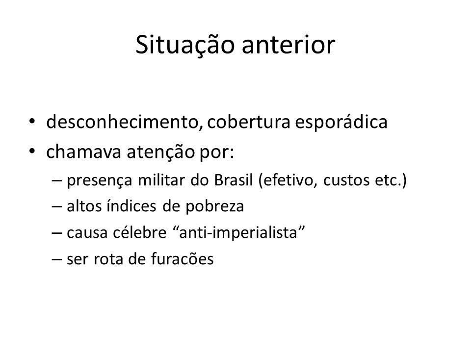 Situação anterior desconhecimento, cobertura esporádica chamava atenção por: – presença militar do Brasil (efetivo, custos etc.) – altos índices de pobreza – causa célebre anti-imperialista – ser rota de furacões