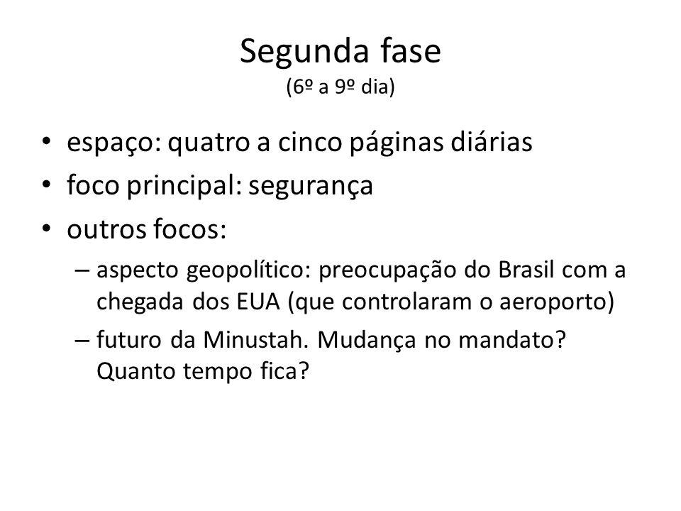 Segunda fase (6º a 9º dia) espaço: quatro a cinco páginas diárias foco principal: segurança outros focos: – aspecto geopolítico: preocupação do Brasil com a chegada dos EUA (que controlaram o aeroporto) – futuro da Minustah.