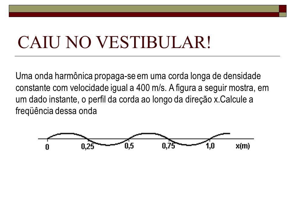 CAIU NO VESTIBULAR! Uma onda harmônica propaga-se em uma corda longa de densidade constante com velocidade igual a 400 m/s. A figura a seguir mostra,