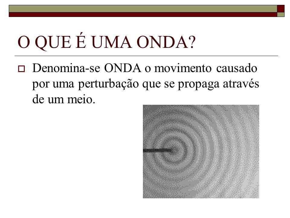 O QUE É UMA ONDA? Denomina-se ONDA o movimento causado por uma perturbação que se propaga através de um meio.