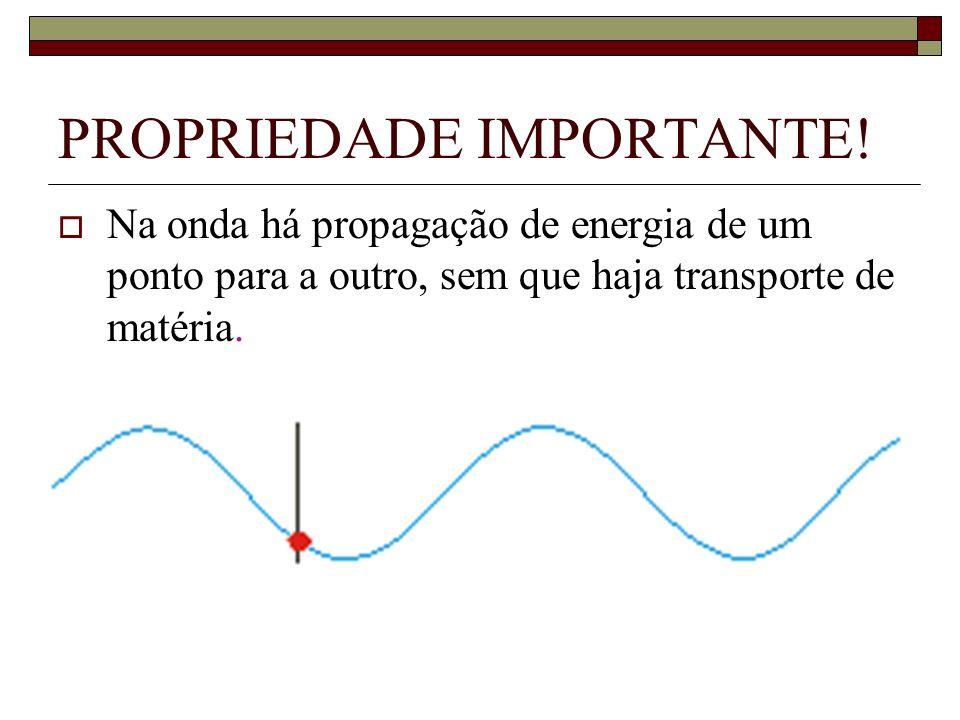 PROPRIEDADE IMPORTANTE! Na onda há propagação de energia de um ponto para a outro, sem que haja transporte de matéria.