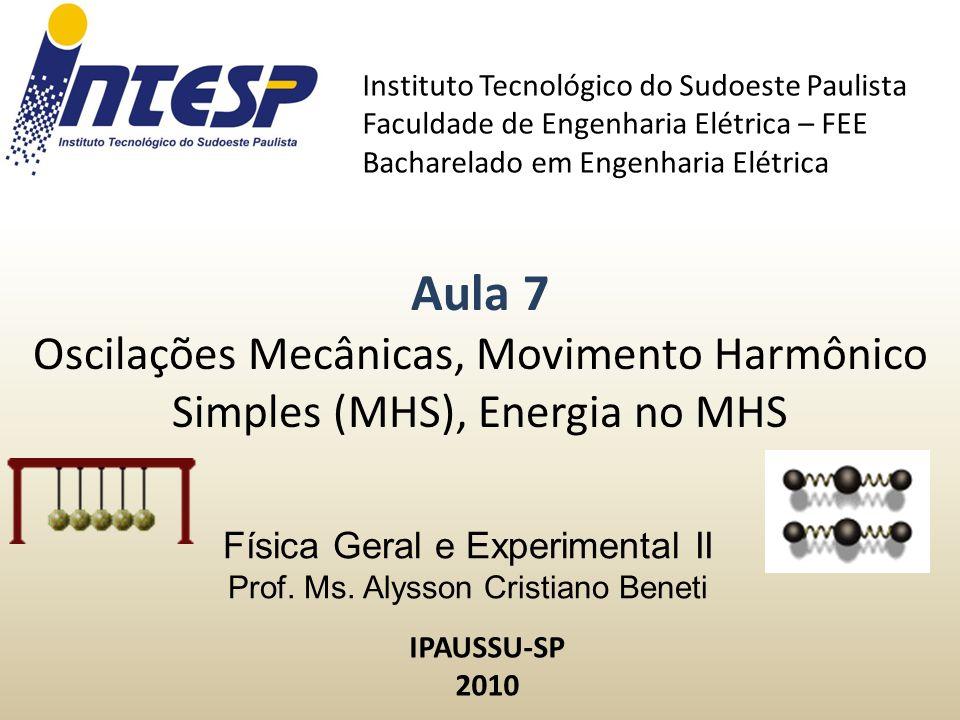 Dinâmica do Movimento Harmônico Simples (MHS) Constante Elástica da Mola Deslocamento VelocidadeMassa Qual é a energia associada ao MHS.