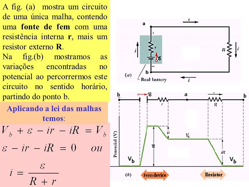Regras para o uso da 1ª Lei de Kirchhoff No Resistor: Quando um resistor é percorrido no mesmo sentido da corrente que o atravessa, a variação de pote