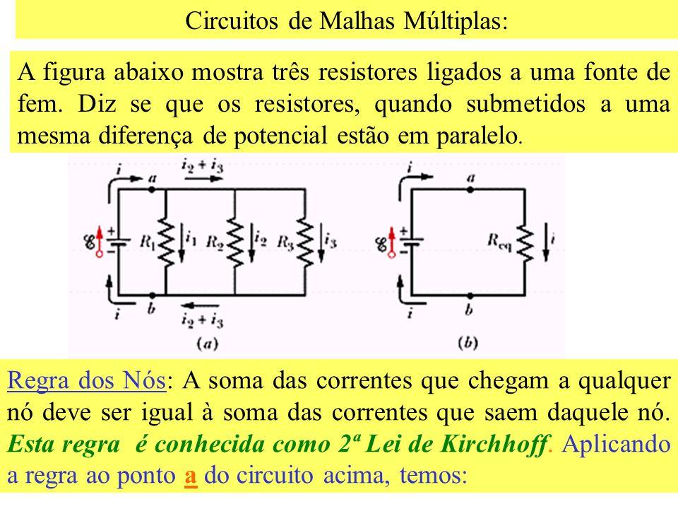Diferença de Potencial e Força eletromotriz Muitas vezes estamos interessados em calcular a diferença de potencial entre dois pontos de um circuito. Q