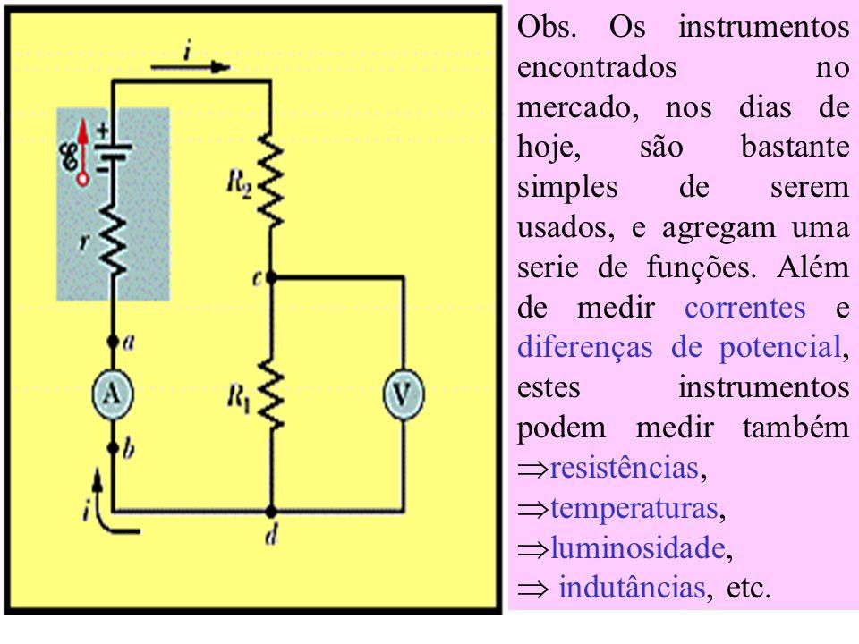 Instrumentos de Medidas Elétricas Discutiremos neste tópico alguns instrumentos de medidas elétricas: 1) O Amperímetro - É um instrumento usado para m