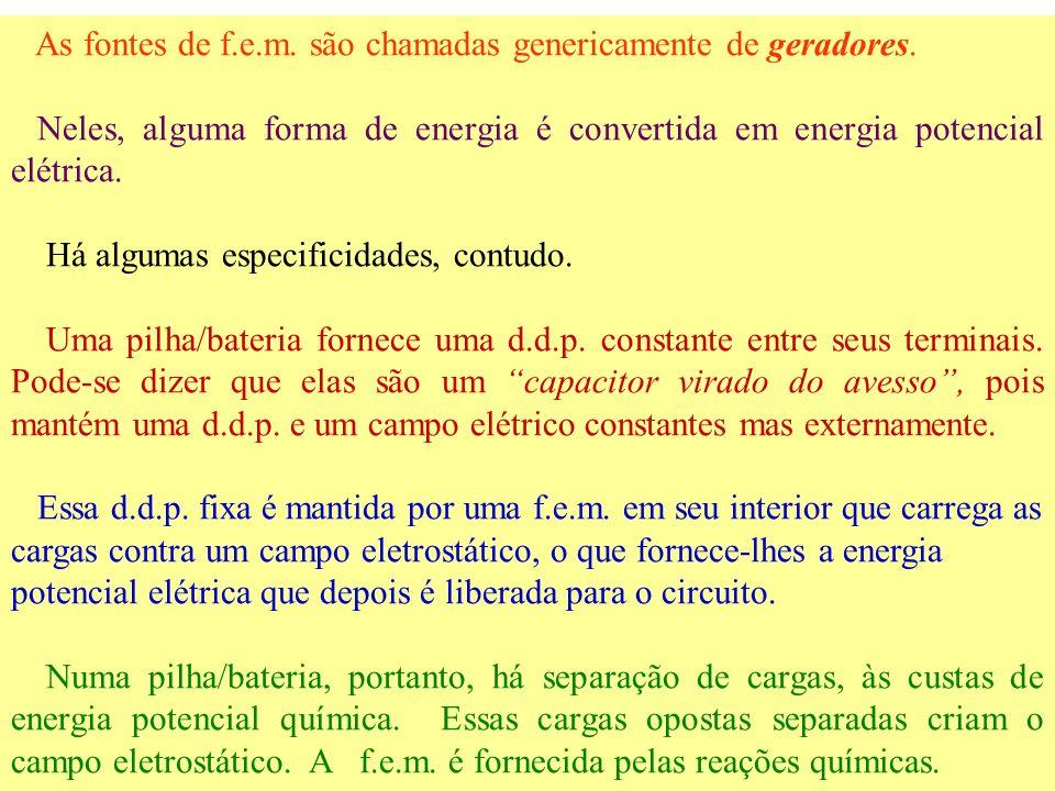 A rigor devemos distinguir com cuidado f.e.m de d.d.p. Ambas, a d.d.p. e a f.e.m. implicam em 'separação de cargas elétricas', o que é efetuado às cus