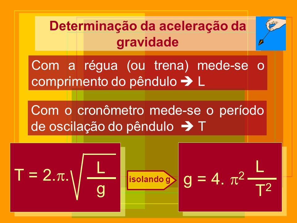 Determinação da aceleração da gravidade Com a régua (ou trena) mede-se o comprimento do pêndulo L Com o cronômetro mede-se o período de oscilação do p