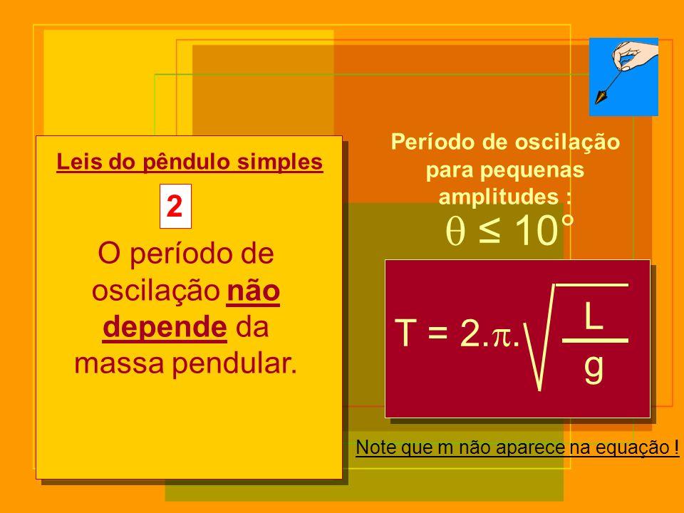10° T = 2.. L g Leis do pêndulo simples 2 O período de oscilação não depende da massa pendular. Note que m não aparece na equação ! Período de oscilaç