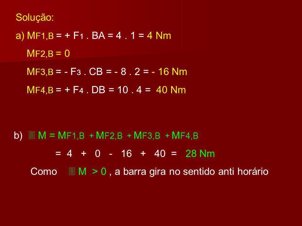 Ex:13- Uma barra de peso desprezível está sob a ação das forças F 1 = 4 N; F 2 = 6N; F 3 = 8 N e F 4 = 10 N (veja figura). A B C D F1F1 F2F2 F3F3 F4F4
