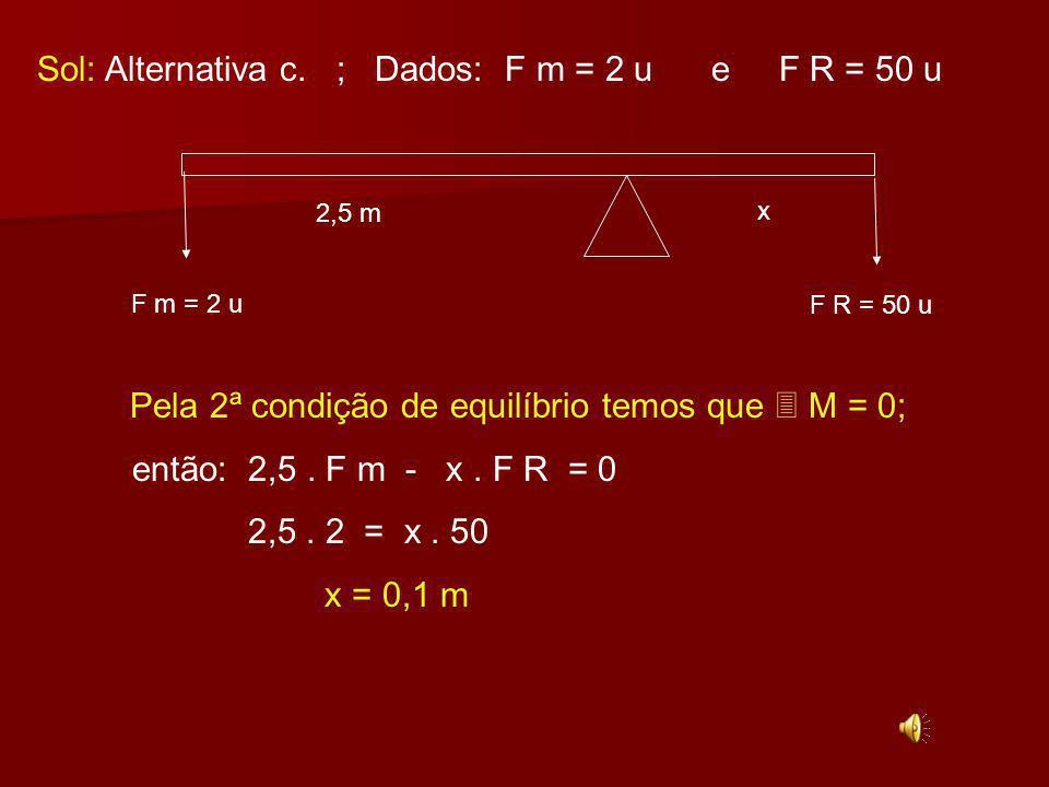 Ex: 27-(FGV – SP) Em uma alavanca interfixa, uma força motriz de 2 unidades equilibra uma resistência de 50 unidades.
