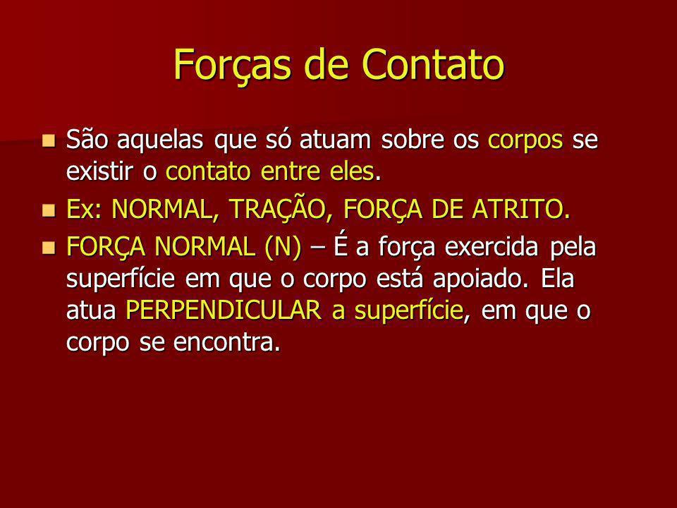 Forças de Contato São aquelas que só atuam sobre os corpos se existir o contato entre eles.