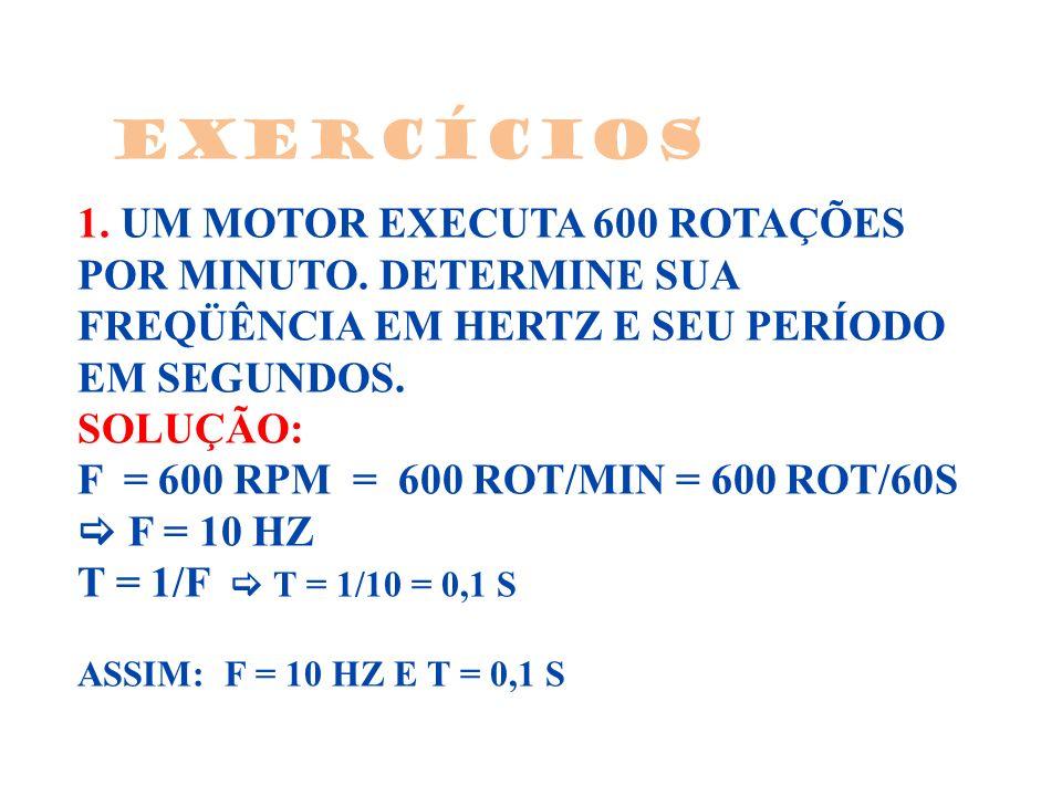 1. UM MOTOR EXECUTA 600 ROTAÇÕES POR MINUTO. DETERMINE SUA FREQÜÊNCIA EM HERTZ E SEU PERÍODO EM SEGUNDOS. SOLUÇÃO: F = 600 RPM = 600 ROT/MIN = 600 ROT