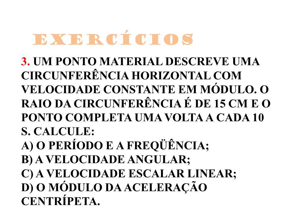 3. UM PONTO MATERIAL DESCREVE UMA CIRCUNFERÊNCIA HORIZONTAL COM VELOCIDADE CONSTANTE EM MÓDULO. O RAIO DA CIRCUNFERÊNCIA É DE 15 CM E O PONTO COMPLETA