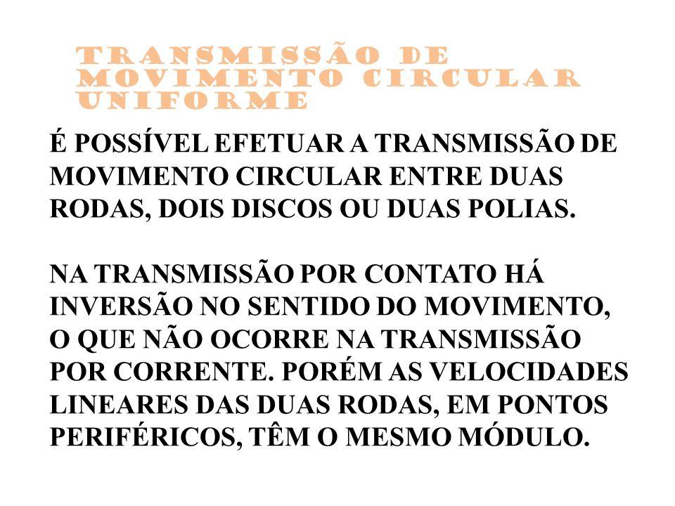 É POSSÍVEL EFETUAR A TRANSMISSÃO DE MOVIMENTO CIRCULAR ENTRE DUAS RODAS, DOIS DISCOS OU DUAS POLIAS. NA TRANSMISSÃO POR CONTATO HÁ INVERSÃO NO SENTIDO