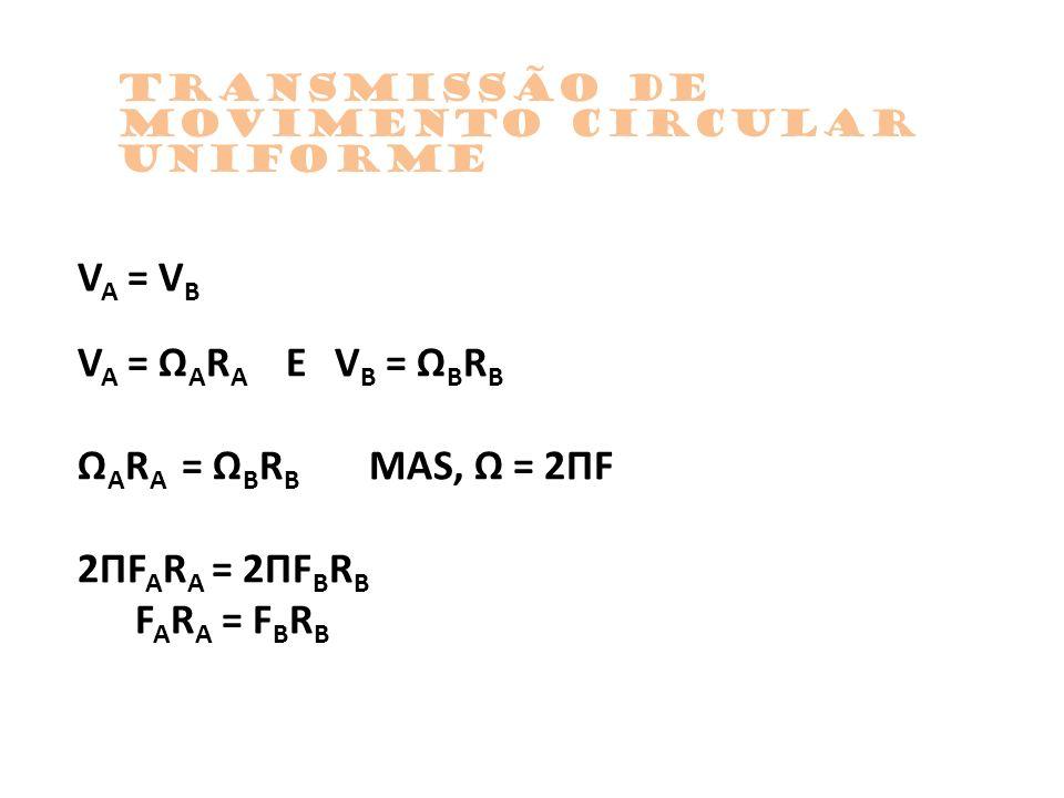 V A = V B V A = Ω A R A E V B = Ω B R B Ω A R A = Ω B R B MAS, Ω = 2ΠF 2ΠF A R A = 2ΠF B R B F A R A = F B R B TrAnsmissão de movimento circular unifo
