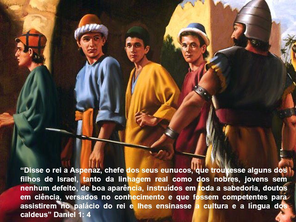 Disse o rei a Aspenaz, chefe dos seus eunucos, que trouxesse alguns dos filhos de Israel, tanto da linhagem real como dos nobres, jovens sem nenhum de