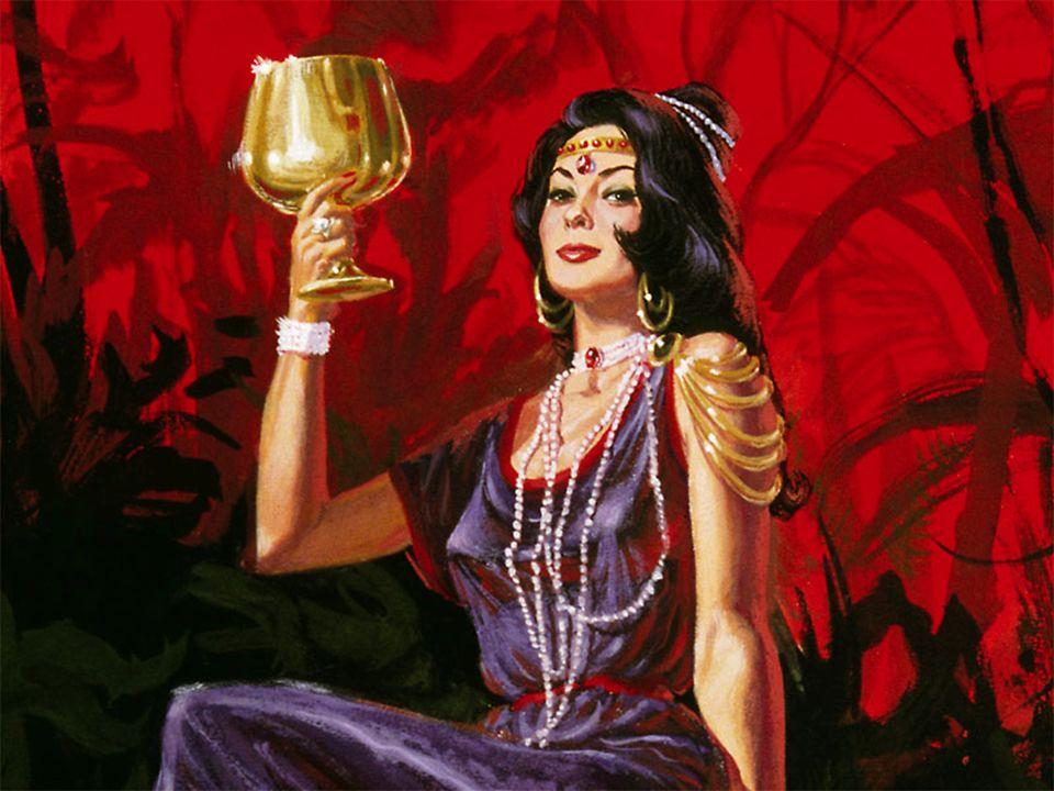 ...Tinha na mão um cálice de ouro cheio das abominações e da imundícia da sua prostituição.