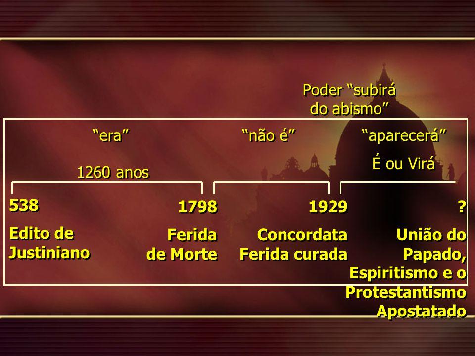 538 Edito de Justiniano 538 Edito de Justiniano 1798 Ferida de Morte 1798 Ferida de Morte 1929 Concordata Ferida curada 1929 Concordata Ferida curada 1260 anos .