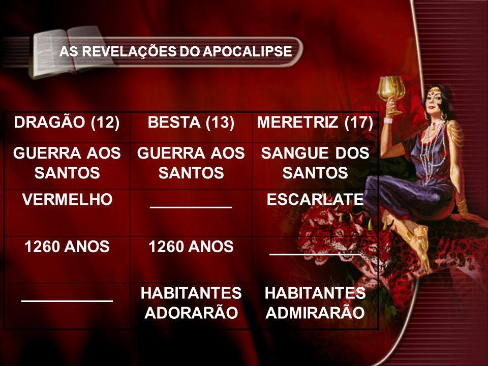 AS REVELAÇÕES DO APOCALIPSE DRAGÃO (12)BESTA (13)MERETRIZ (17) GUERRA AOS SANTOS SANGUE DOS SANTOS VERMELHO_________ESCARLATE 1260 ANOS __________ HABITANTES ADORARÃO HABITANTES ADMIRARÃO