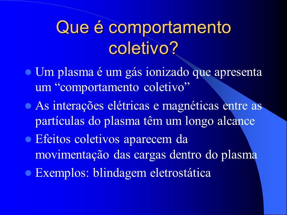 Que é comportamento coletivo? Um plasma é um gás ionizado que apresenta um comportamento coletivo As interações elétricas e magnéticas entre as partíc