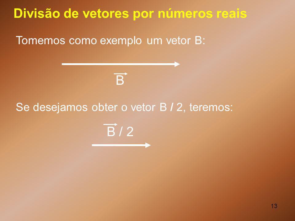 13 Divisão de vetores por números reais B Tomemos como exemplo um vetor B: Se desejamos obter o vetor B / 2, teremos: B / 2