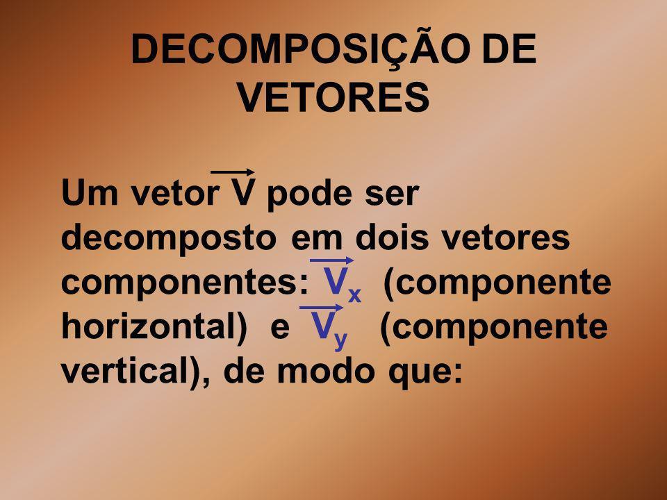 DECOMPOSIÇÃO DE VETORES Um vetor V pode ser decomposto em dois vetores componentes: V x (componente horizontal) e V y (componente vertical), de modo q