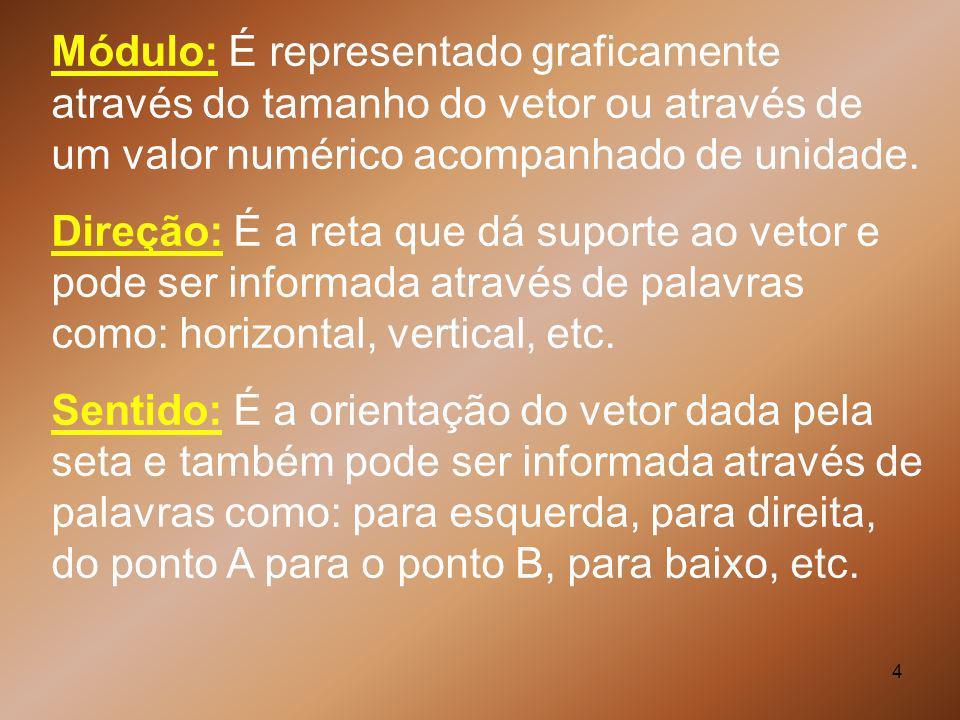 4 Módulo: É representado graficamente através do tamanho do vetor ou através de um valor numérico acompanhado de unidade. Direção: É a reta que dá sup
