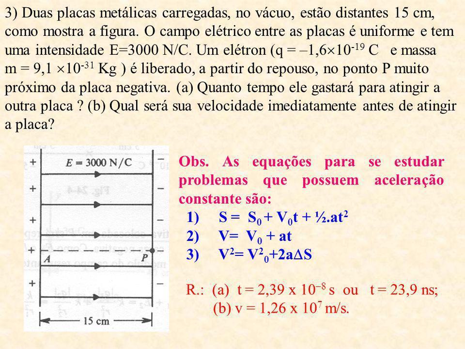 Exercícios: 1) Calcule a intensidade do campo elétrico E no ar, a uma distância de 30 cm de uma carga puntiforme q 1 =5 10 -9 C e a força sobre uma ca