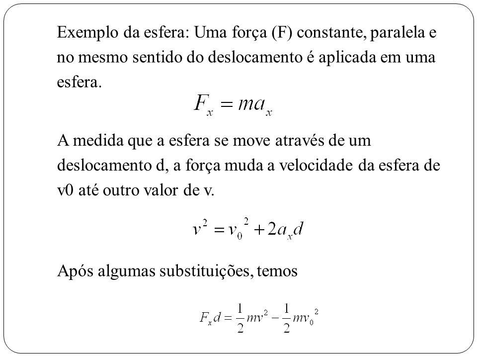 Exemplo da esfera: Uma força (F) constante, paralela e no mesmo sentido do deslocamento é aplicada em uma esfera. A medida que a esfera se move atravé