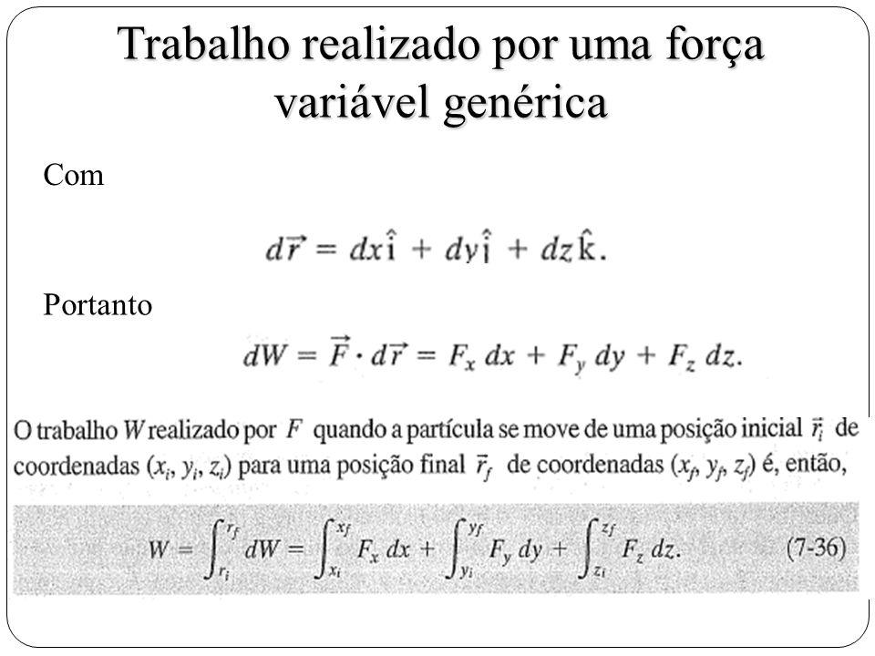 Trabalho realizado por uma força variável genérica Com Portanto
