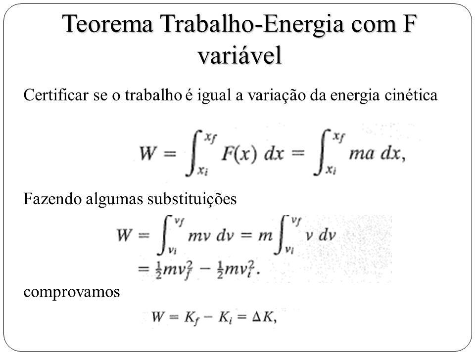 Teorema Trabalho-Energia com F variável Certificar se o trabalho é igual a variação da energia cinética Fazendo algumas substituições comprovamos