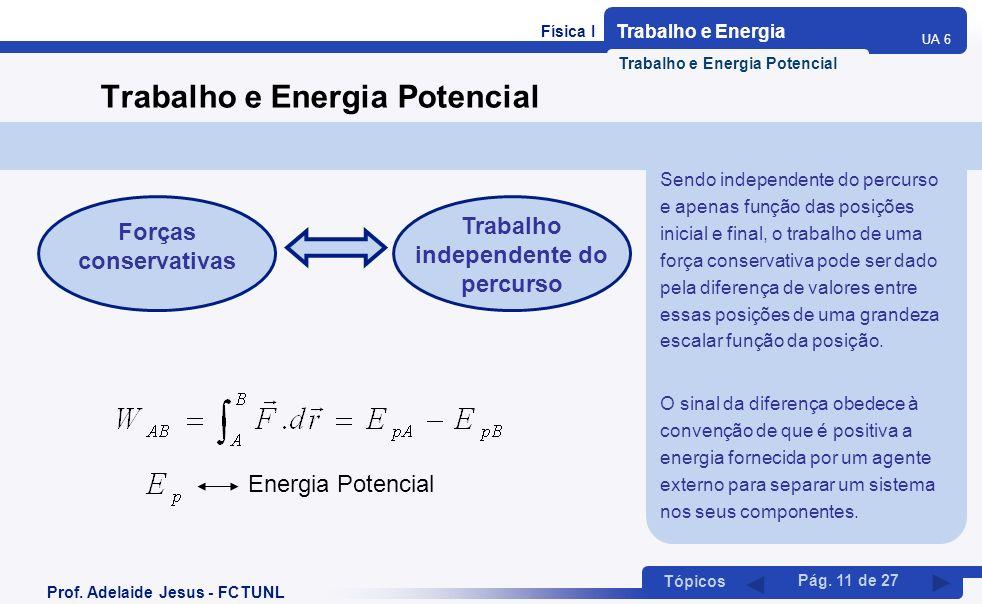 Física I Trabalho e Energia UA 6 Tópicos Prof. Adelaide Jesus - FCTUNL Pág. 11 de 27 Trabalho e Energia Potencial Forças conservativas Trabalho indepe