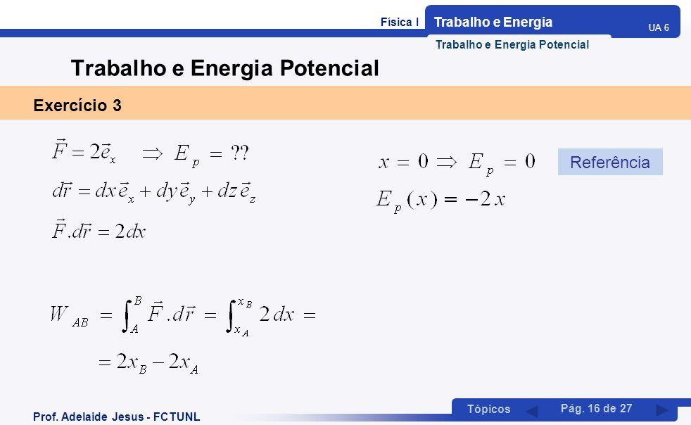 Física I Trabalho e Energia UA 6 Tópicos Prof. Adelaide Jesus - FCTUNL Pág. 16 de 27 Trabalho e Energia Potencial Exercício 3 Referência Trabalho e En