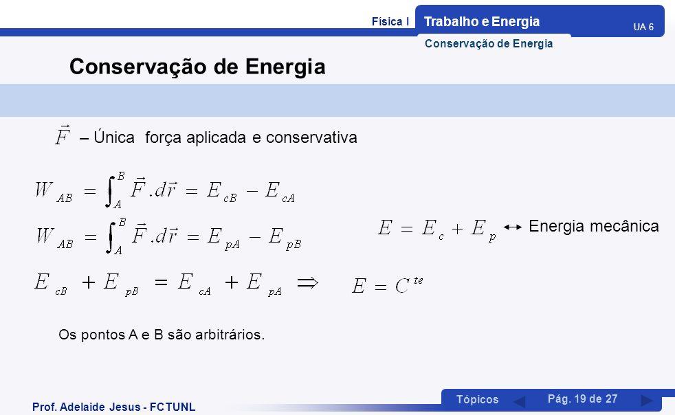 Física I Trabalho e Energia UA 6 Tópicos Prof. Adelaide Jesus - FCTUNL Pág. 19 de 27 Conservação de Energia – Única força aplicada e conservativa Ener