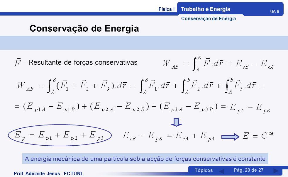 Física I Trabalho e Energia UA 6 Tópicos Prof. Adelaide Jesus - FCTUNL Pág. 20 de 27 Conservação de Energia – Resultante de forças conservativas A ene