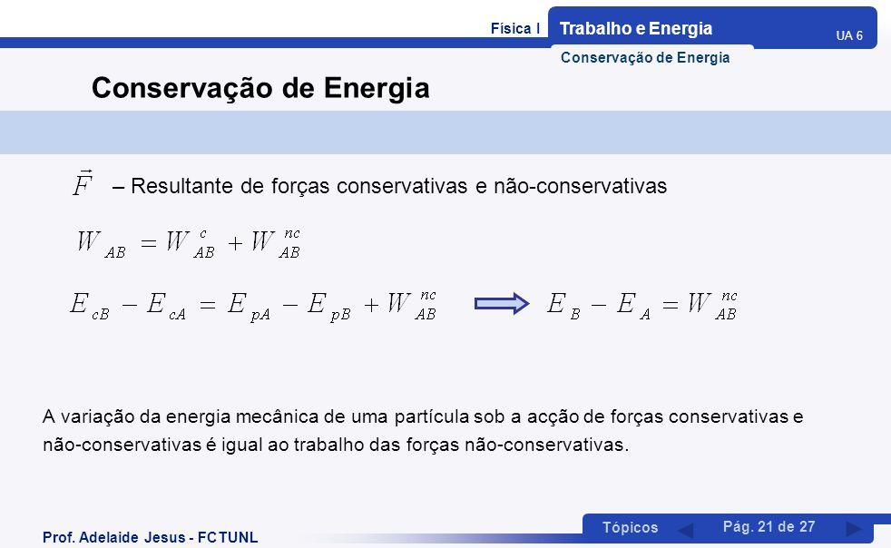 Física I Trabalho e Energia UA 6 Tópicos Prof. Adelaide Jesus - FCTUNL Pág. 21 de 27 Conservação de Energia A variação da energia mecânica de uma part