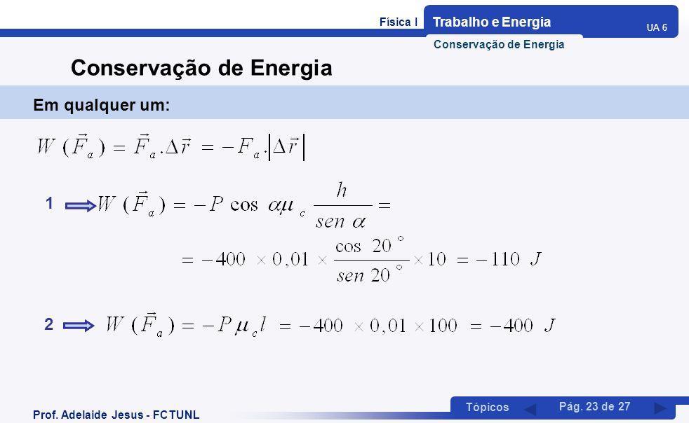 Física I Trabalho e Energia UA 6 Tópicos Prof. Adelaide Jesus - FCTUNL Pág. 23 de 27 Conservação de Energia Em qualquer um: 1 2 Conservação de Energia