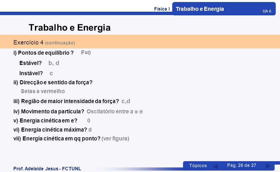 Física I Trabalho e Energia UA 6 Tópicos Prof. Adelaide Jesus - FCTUNL Pág. 26 de 27 Trabalho e Energia Exercício 4 (continuação) i) Pontos de equilíb
