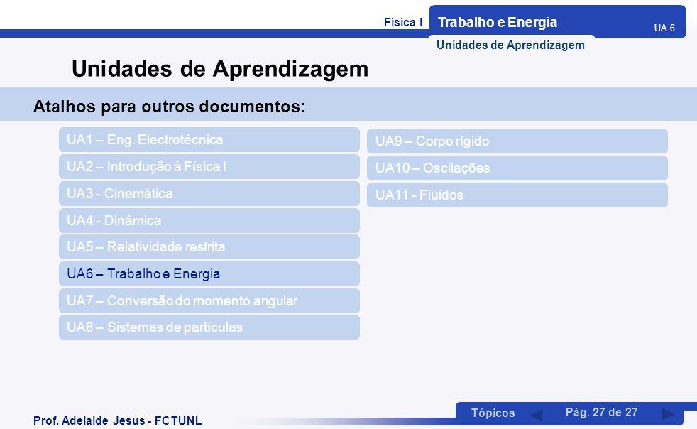 Física I Trabalho e Energia UA 6 Tópicos Prof. Adelaide Jesus - FCTUNL Pág. 27 de 27 Atalhos para outros documentos: UA2 – Introdução à Física I UA1 –