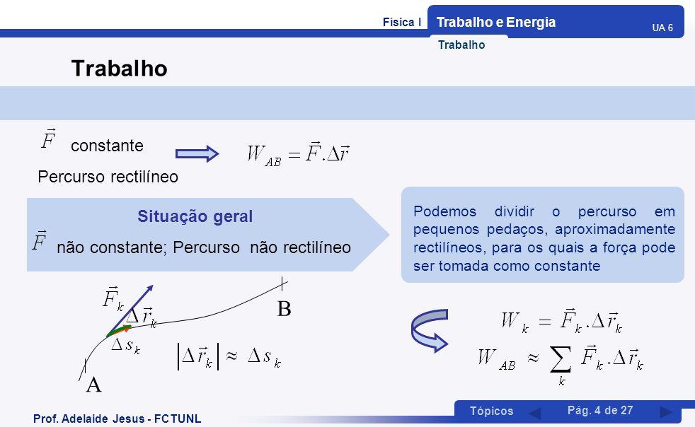Física I Trabalho e Energia UA 6 Tópicos Prof. Adelaide Jesus - FCTUNL Pág. 4 de 27 Trabalho constante Percurso rectilíneo Situação geral não constant