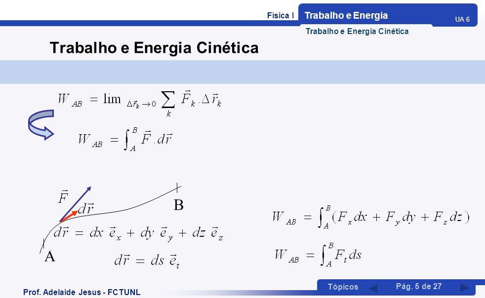 Física I Trabalho e Energia UA 6 Tópicos Prof. Adelaide Jesus - FCTUNL Pág. 5 de 27 Trabalho e Energia Cinética A B