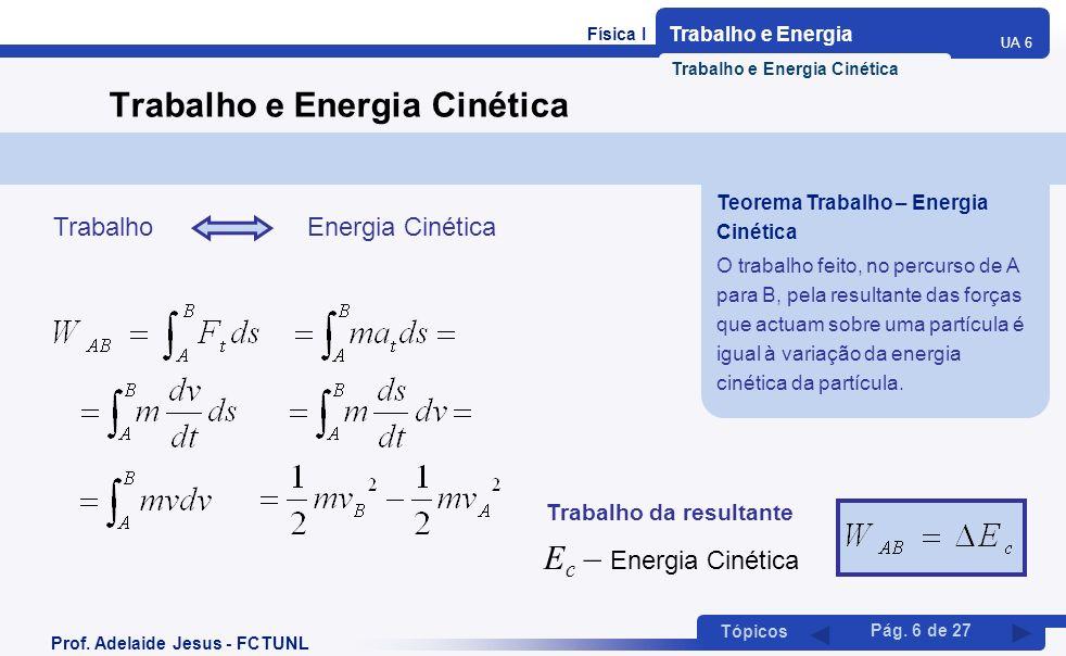 Física I Trabalho e Energia UA 6 Tópicos Prof. Adelaide Jesus - FCTUNL Pág. 6 de 27 Trabalho e Energia Cinética Trabalho Energia Cinética Trabalho da